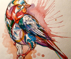 bird, art, and watercolor image