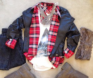 black, jacket, and plaid image