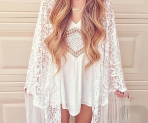 blonde hair, kimono, and boho image