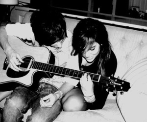 black and white, couple, and music image