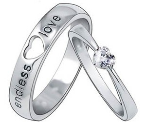 rings, silver rings, and couples rings image