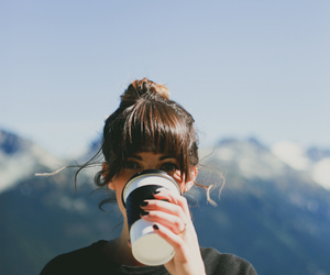 girl, coffee, and mountains image