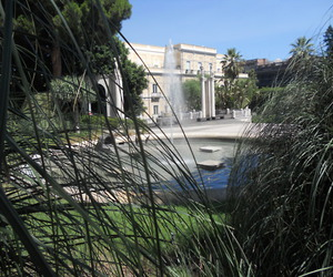 fountain, sky, and tree image