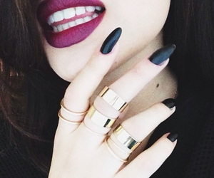 nails, lips, and black image
