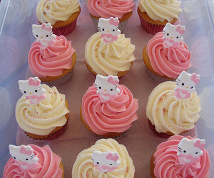 cupcakes, hello kitty, and food image