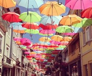 umbrella, city, and colors image
