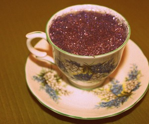 glitter, tea, and cup image