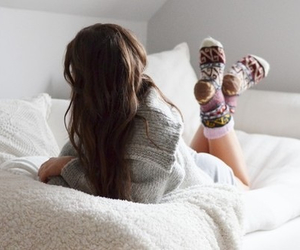 girl, socks, and hair image