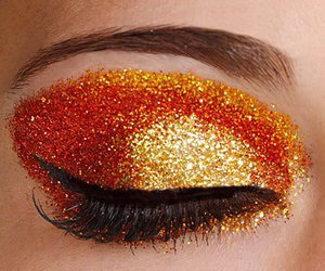 makeup, orange, and glitter image