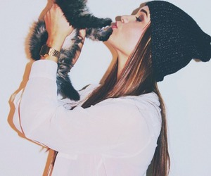 girl, cat, and kiss image