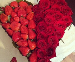 rose, strawberry, and love image