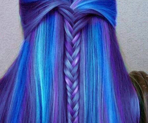 blue, braid, and hair style image