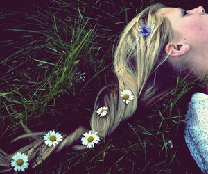 blond, flowers, and girl image