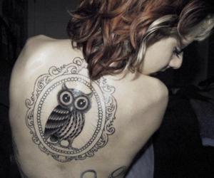 tattoo, owl, and girl image