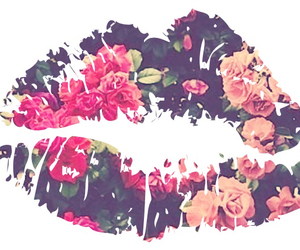 floral, lips, and wallpaper image
