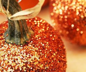 pumpkin, glitter, and Halloween image