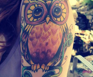 owl, tattoo, and girl image