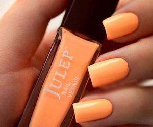 nails, orange, and nail polish image