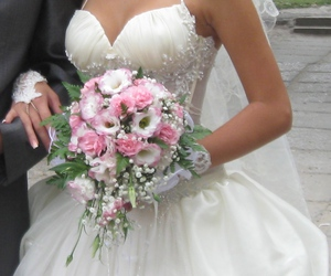 bride groom, wedding rings, and bridal bouquet image