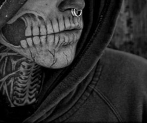 inked, Piercings, and b&w image