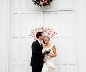 couple, dress, and flowers image