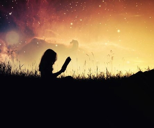 book, girl, and night image