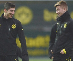 happy, borussia dortmund, and robert lewandowski image