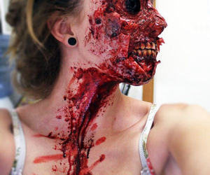 blood, makeup, and zombie image