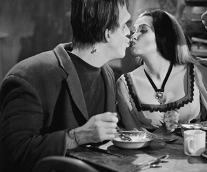 kiss, black and white, and Frankenstein image