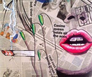 art, lips, and smoke image