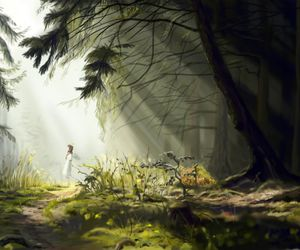 anime, forest, and angel image