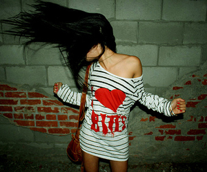 girl, hair, and heart image