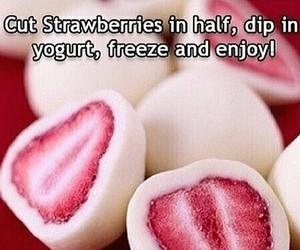 strawberry, food, and yogurt image