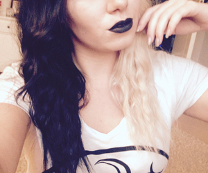 black, black lips, and hair image