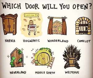 narnia, hogwarts, and wonderland image