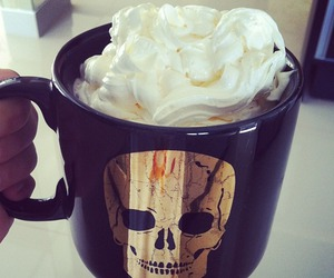 skull, coffee, and cup image