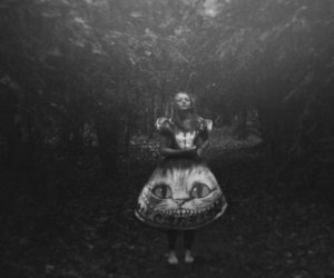 girl, alice, and black and white image