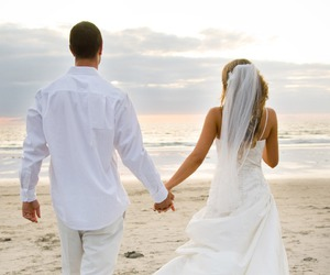 beach, wedding, and couple image