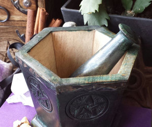 pentagram, pentacle, and mortar and pestle image