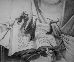 book, dragon, and drawing image
