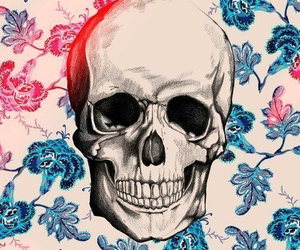 skull, flowers, and hipster image