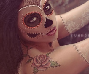 fashion, lips, and halloween mask image