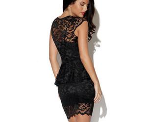 black lace, dress, and fashion image
