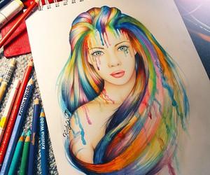 drawing, art, and rainbow image