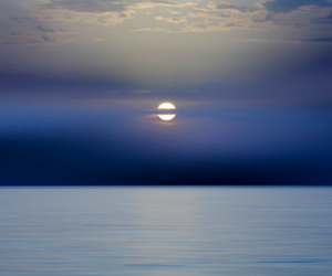 blue, moon, and ocean image