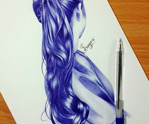 art, hair, and blue image