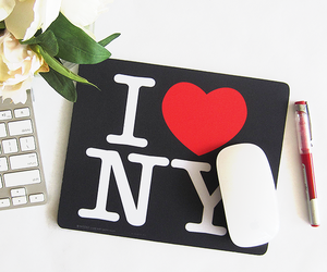 flowers, i love new york, and mouse pad image