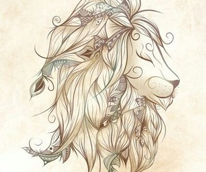 lion, art, and boho image