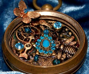 blue, bronze, and compass image