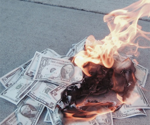 money, fire, and burn image